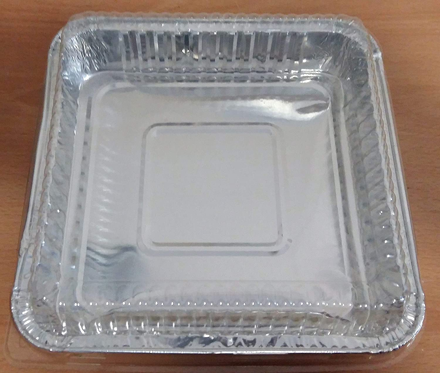 2 Pack Square Aluminium Foil Serving Tray with Lids Oven Cook BBQ Buffet 225mmx225mm 2