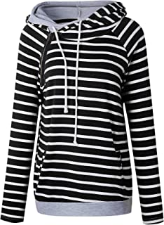 Sysea Womens Casual Color Block Pullover Hoodies Double Hooded Sweatshirts Thumb Holes Pocket