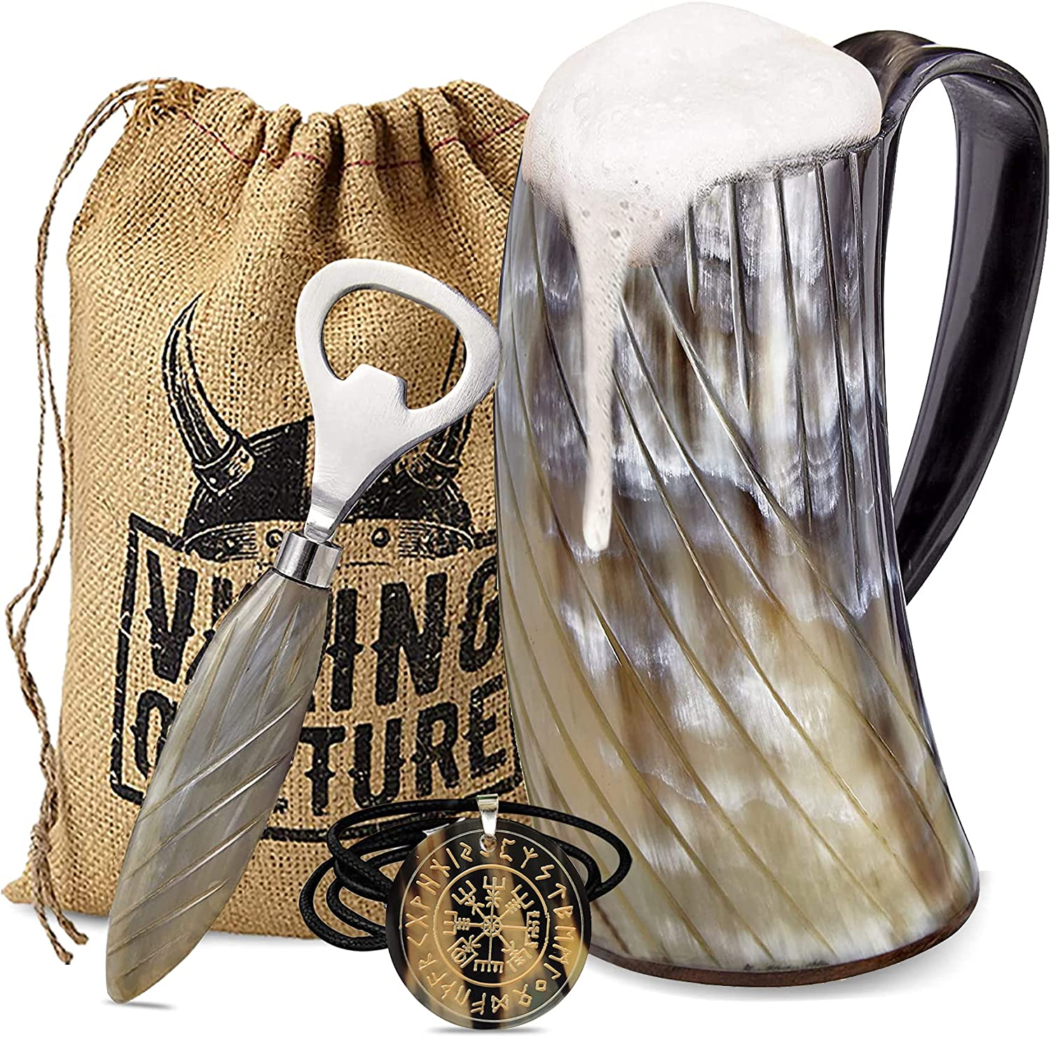 Viking Culture Now New color free shipping Ox Horn Mug Norse Opener Pendant and Bottle 3