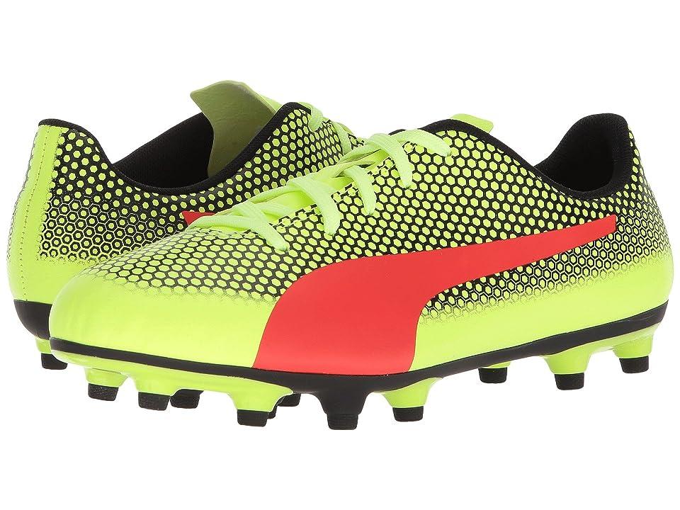 Puma Kids Spirit FG Soccer (Little Kid/Big Kid) (Fizzy Yellow/Red Blast/Puma Black) Kids Shoes