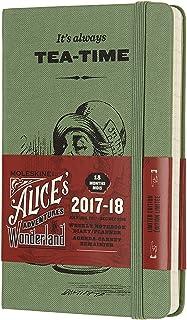 Moleskine Cuaderno y calendario de la semana, Alicia en el país de las maravillas, 18meses, 2017/2018, Hard Cover, color Weidengrün/Koralle bolsillo