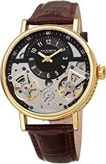 AK1058 Designer Skeleton Men's Watch – Genuine Leather Band - Automatic Mechanical Wristwatch with See Through Dial – Crocodile Strap