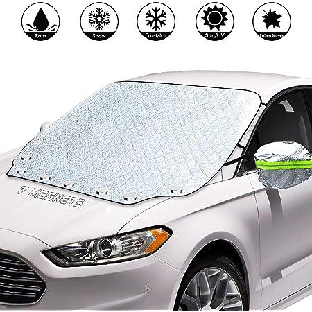 Amzkoi Frontscheibenabdeckung Auto Magnetisch Windschutzscheibe Abdeckung Mit Reflektierenden Rückspiegelabdeckungen Ultra Dicke Autoabdeckung Aus Aluminiumfolie Für Winter Auto