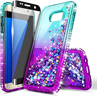 NageBee Glitter Liquid Bling Floating Waterfall Sparkle Diamond Phone Case for Samsung Galaxy S6 Edge with Screen Protector Full Coverage 3D Curve -Aqua & Purple