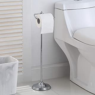 Best SunnyPoint Bathroom Free Standing Toilet Tissue Paper Roll Holder Stand with Reserve Function, Chrome Finish Review