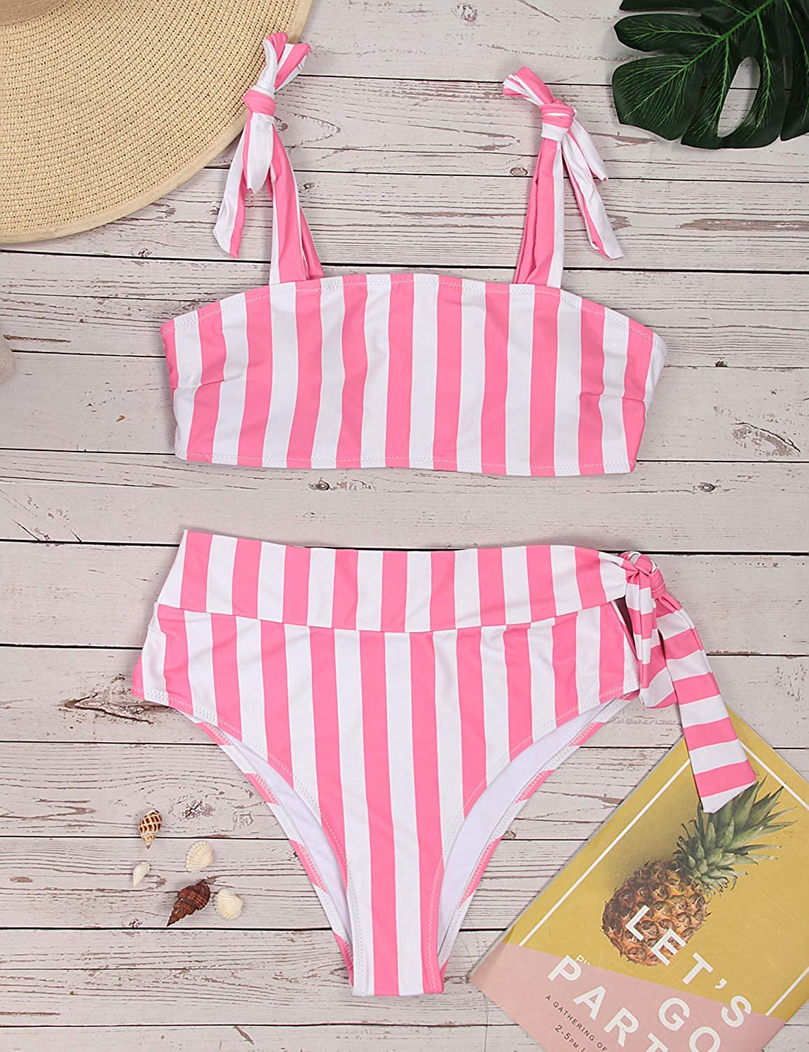 Blooming Jelly Womens High Waisted Bikini Set Tie Knot Bathing Suit Striped Hi Rise Two Piece Swimsuits: Clothing