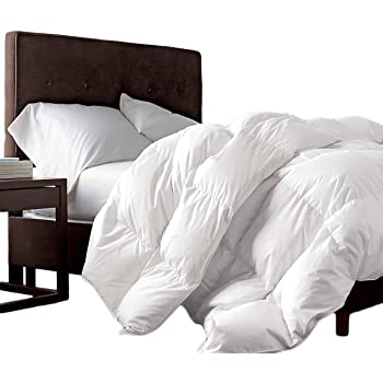 Luxurious Queen Size Siberian Goose Down Comforter 100% Egyptian Cotton 1200 Thread Count 1200TC - Baffle Box Design - 48oz Fill Weight - Full/Queen Duvet - Solid White