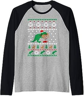 Trex Eating Reindeer Shirt Christmas Raglan Baseball Tee