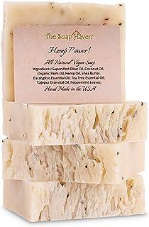 HEMP POWER! Hemp Oil Soap Bars with Eucalyptus, Tea Tree & Peppermint (4 Bars, 4.5 oz each) - Handmade in USA with 100% Al...