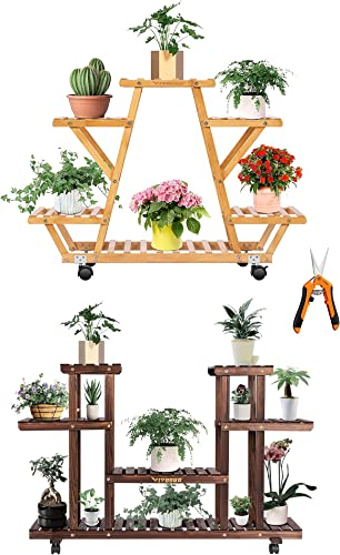 lowest VIVOSUN 6 online Tier Bamboo Plant Stand popular Indoor Outdoor Wheeled Multi Layer Flower Pots Shelf with Gardening Hand Pruner Pruning Shear and Wood Plant Stand Plant Display Shelf outlet sale