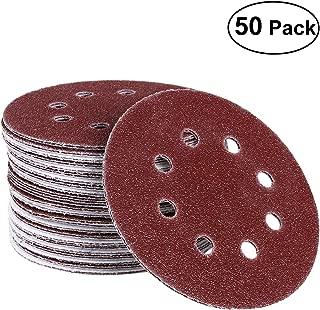 UEETEK Hook and Loop Sanding Discs 8 Hole 5 Inch 40 Grit Sandpaper round shape(Pack of 50)