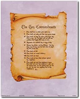 Wall Decor Ten Commandments Catholic Christian Religious Quote Art Print Poster (16x20)