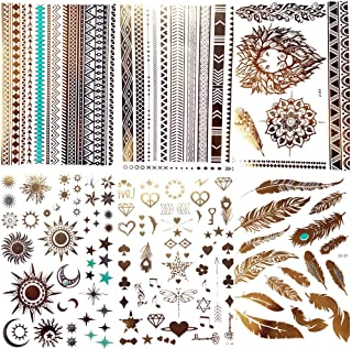 COKTAK 6Pieces/Lot Gold Metallic Temporary Tattoos For Women Bohemian Moon Star Lion Bracelet Body Art Large Boho Fake Jewelry Waterproof Flash Tattoo Sticker Girls Arm Glitter Feather Henna Tatoos