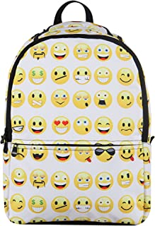 Hynes Eagle Printed Emoji Pattern Backpack (White)
