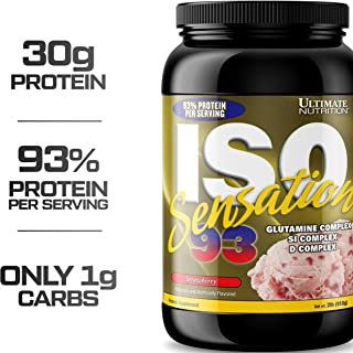 Ultimate Nutrition Sensation 93 ISO 100% Protein Powder Whey Isolate (Strawberry,2 Pounds)