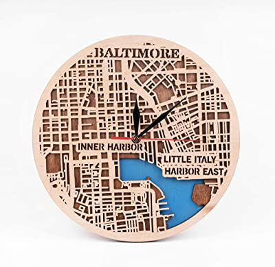 Wooden Wall Clock with Baltimore Map Design City Art USA Wooden Decor Birthday Gift for Man Baltimore Wooden Wall Clock Baltimore 12 Inch Wooden Clock Gift for Christmas 3D Wooden Map Clock