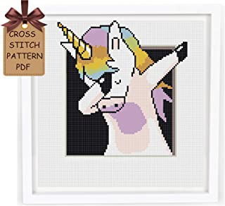 Cross stitch patterns funny pdf, unicorn counted modern easy cross stitch sampler design for beginners, baby 3D simple cross stitch chart, home wall decor DIY