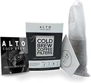No Mess Disposable Cold Brew Coffee Filters - 35 PACK - Bonus Cold Brew Mocktail Brew Guide - Cleaner, Brighter Cold Brew, Without the Cleanup - (2 QUART PITCHER SIZE)