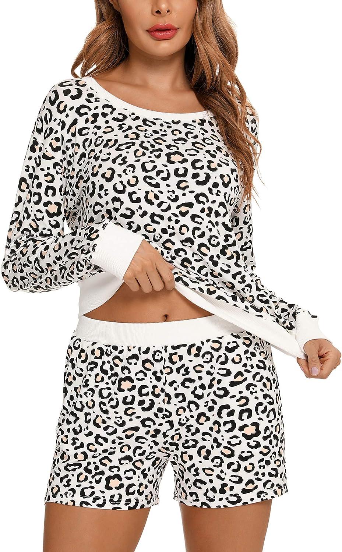 Senert Womens Pajamas Set Long Sleeve Tops with Shorts Lounge Set Sleepwear Two-Piece Pjs Set with Pockets S-XXL