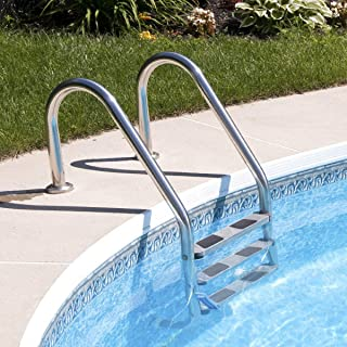 3 Steps Stainless Steel In-ground Swimming Pool Ladder Handrail Non Slip Easy Install Outdoor Rustless Hotel Commercial Sports Club Kids Pool