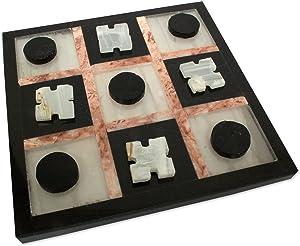 NOVICA Black and White Marble Tic Tac Toe Game Set, Rose On Black'