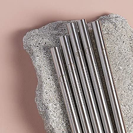 Metal Straws - Eco at Heart Stainless Steel Reusable Smoothie Straws - Extra Wide Straw Design For Smoothies & Thick Shakes - Cleaning Brush Included. 8.5in Length 0.37in Diameter