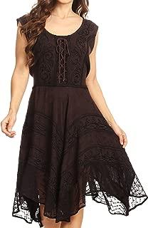 Sundara Stonewashed Rayon Embroidered Mid Length Dress