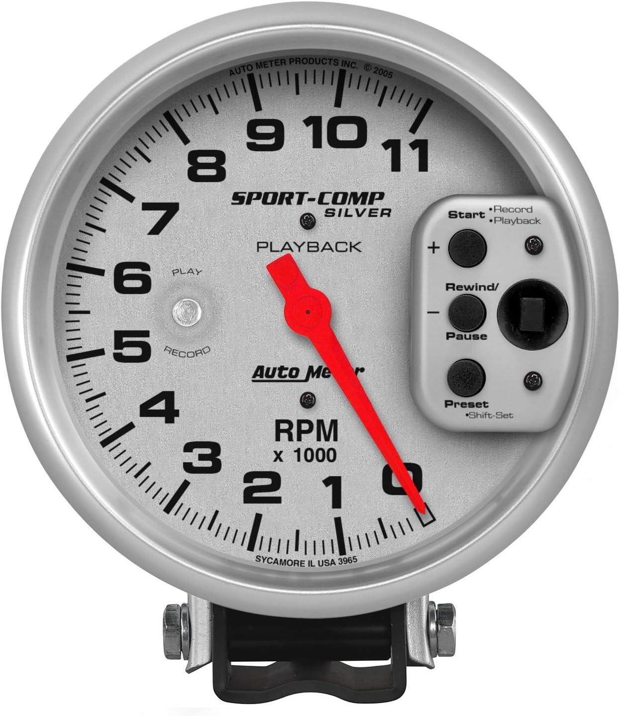 Auto Meter 35% OFF 3965 Sport-Comp Regular store Silver Playback Tachometer