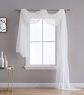 HLC.ME Ivory Sheer Voile Window Curtain Swag Scarf - Valance - Fully Stitched and Hemmed - 55 x 216 inch Long