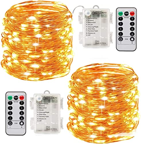 Led String Lights Battery Powered,[2 Pack] Fairy String Lights Battery Operated Waterproof 8 Modes 100 LED 33ft with ...