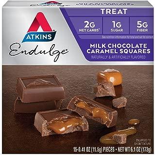 Atkins Endulge Treat, Milk Chocolate Caramel Squares, Keto Friendly, 15 Count (Pack of 6)