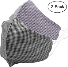 Cotton Fabric Face Mouth Mask Design with Earloop, Reusable Breathable Mask for Nose Anti Allergy, Health Protection from Pollen, Germs, Air Dust Polluation, for Travel, 2 Pcs
