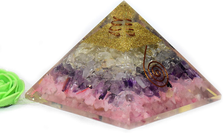 Gifts Pyramid Tatva Orgonite - Rose Amethyst Clear + Quartz Mail order cheap