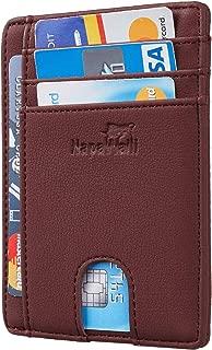 RFID Blocking Minimalist Genuine Leather Slim Front Pocket Wallet U