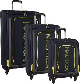 Nautica 3 Piece Luggage Set-Lightweight for Travel, Navy/Blaze Yellow, One Size