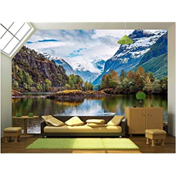 wall26 - Beautiful Nature Norway Natural Landscape. - Removable Wall Mural   Self-Adhesive Large Wallpaper - 100x144 inches