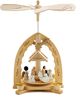 BRUBAKER Christmas Decoration Pyramid 12 Inches Nativity Play - Christmas Scene with Handpainted Angels - Handpainted Figures - Limited Edition