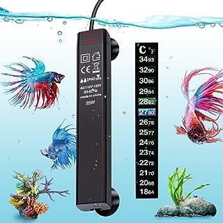 VIBIRIT Aquarium Heater,Betta Fish Tank Heater 25W/50W/100W/200W/300W Smart Aquarium Heater,Energy Efficient Submersible Thermostat + Thermometer Sticker