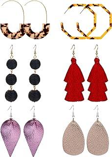 REVOLIA 6 Pairs Tassel Earrings for Women Girls Dangle Earrings Statement Leather Teardrop Drop Earring Acrylic Earrings Set