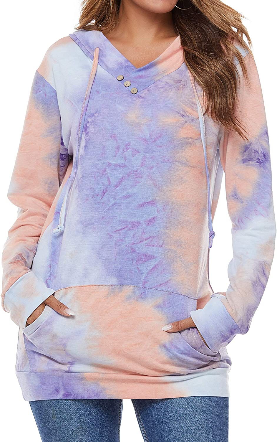 VILOVE Womens Hoodies Pullover Drawstring Casual Be super welcome Hoodie Top San Jose Mall Long