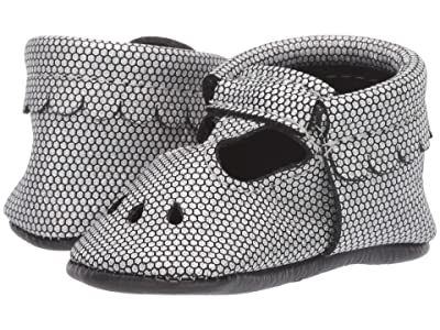 Freshly Picked Chrome Honeycomb Mary Jane (Infant/Toddler) (Silver/Black) Girl