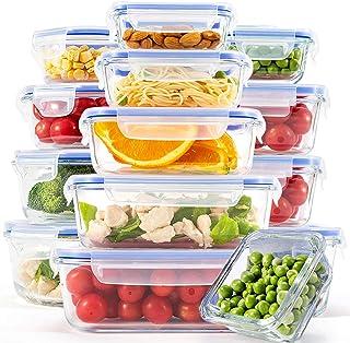 [15 قطعة] حاويات زجاجية لتخزين الطعام مع الأغطية وحافظات الطعام للمطبخ والاستخدام المنزلي وحافظة طعام مع غطاء سهل الإطباق ...