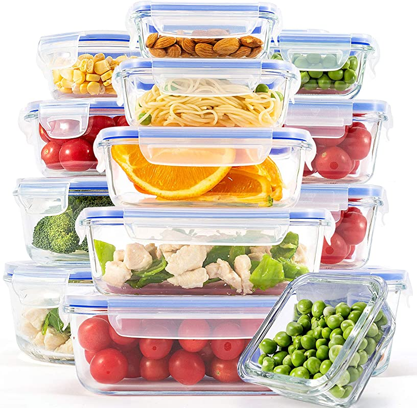 15 Pack Glass Containers For Food Storage With Lids Meal Prep Containers For Kitchen Home Use Lunch Container With Easy Snap Airtight And Leakproof Lid