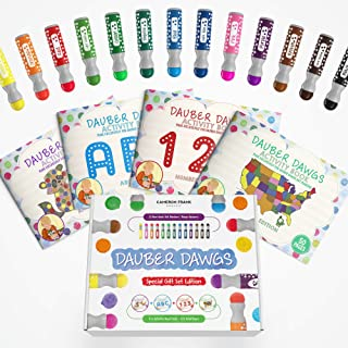 Washable Dot Markers 13 Pack With 121 Activity Sheets For Kids, Gift Set With Toddler Art Activities, Preschool Children A...