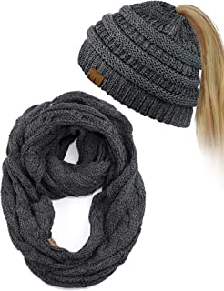 C.C BeanieTail Messy High Bun Cable Knit Beanie and Infinity Loop Scarf Set