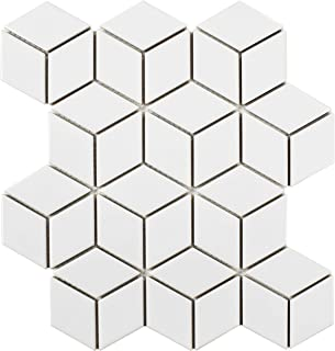SomerTile FMTRHOGW Retro Rhombus Porcelain Mosaic Floor and Wall Tile, 10.5