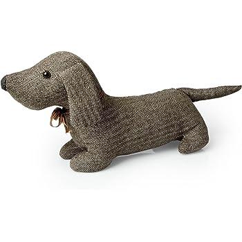 Sifcon Fabric Dachshund Sausage Dog Door Stop Doorstop Tweed Herringbone Black Or Brown