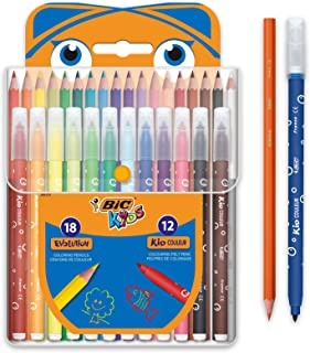 BIC Kids Colouring Set - 18 Assorted Coloured Pencils/12 Assorted Felt Tip Pens