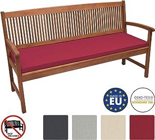 Beautissu Base BK Cojines para Bancos ca. 180x48x5 cm comodísmo Acolchado Bancos de jardín desenfundable Rojo