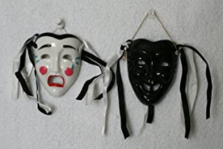 Porcelain Mask, Black Happy Face and White Crying Face,for Wall Decorations and Collection., 7.6cm (L) X 6.4cm (W) X 2.5cm...